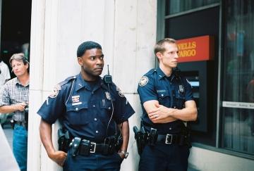Cops in front of Wells Fargo branch