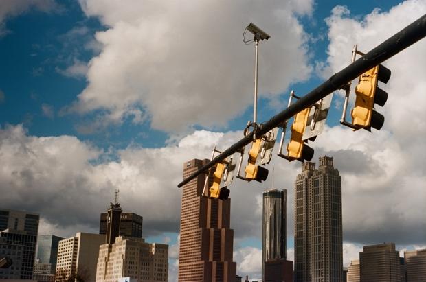 Traffic Lights and City Skyline
